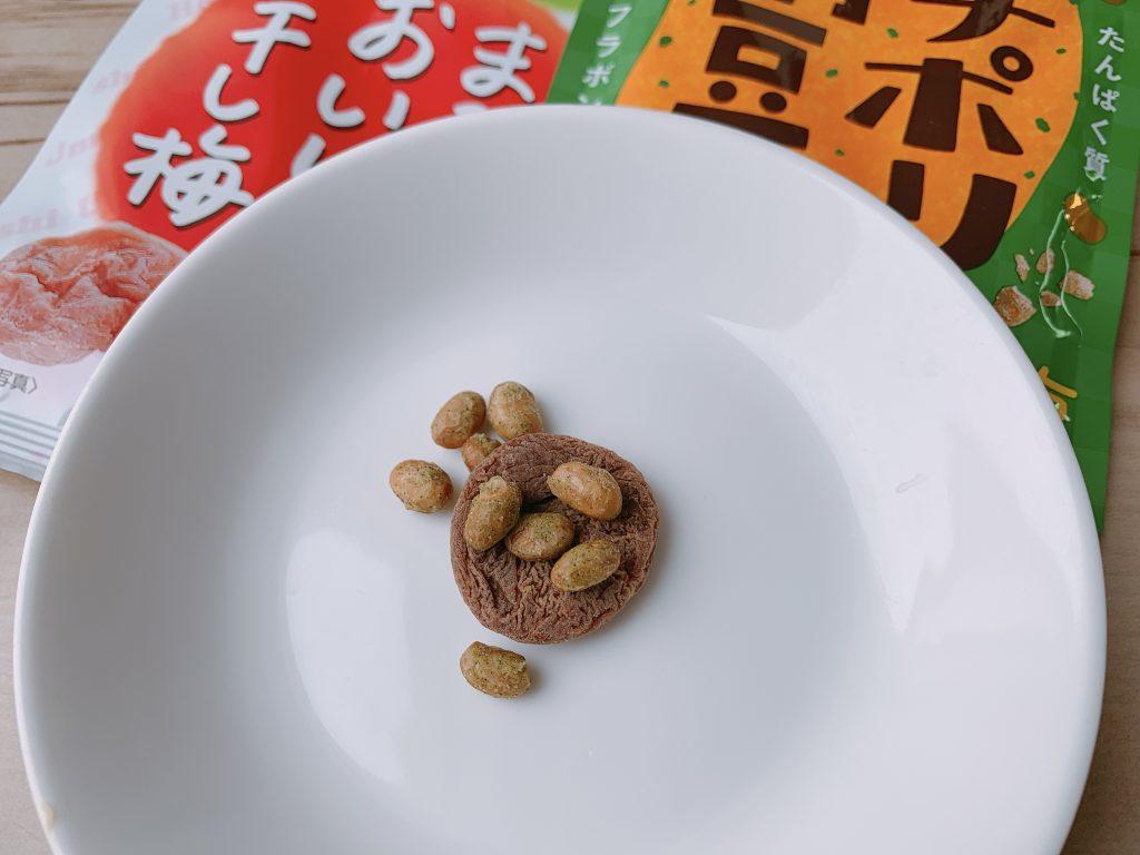 プチポリ納豆とまるごとおいしい干し梅を合わせる