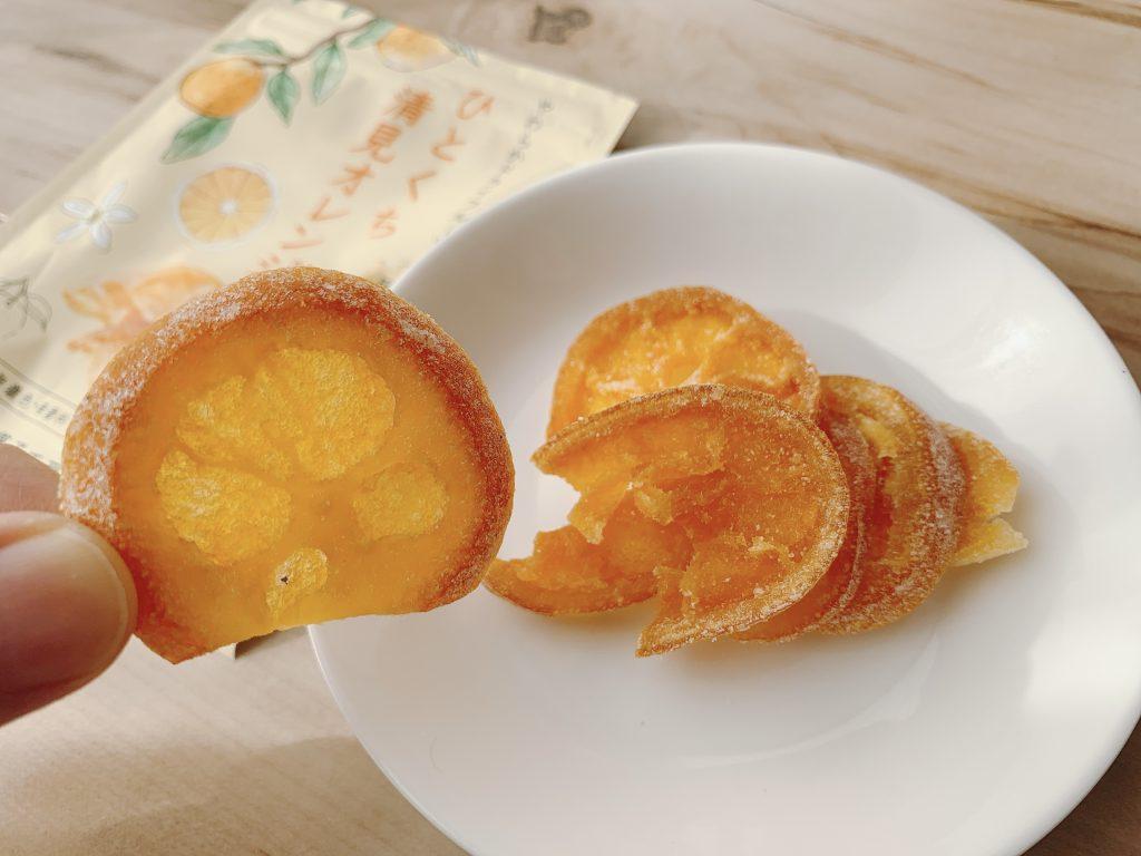 ひとくち清見オレンジの果肉部分は甘くやさしい味でおいしい