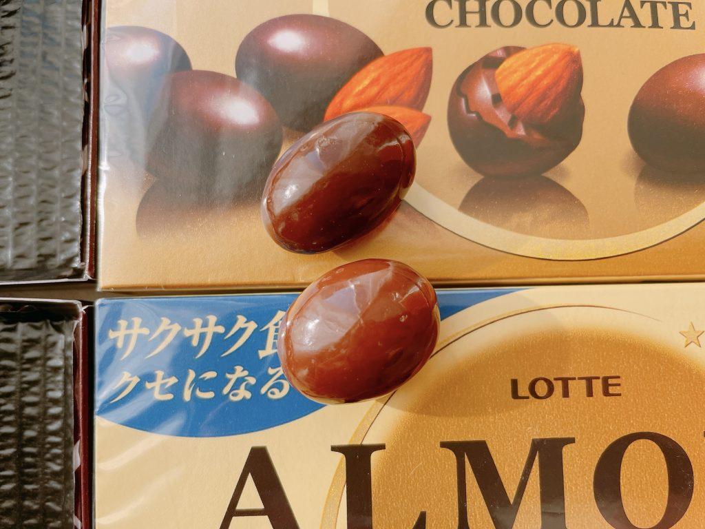 アーモンドチョコレートとクリスプの比較