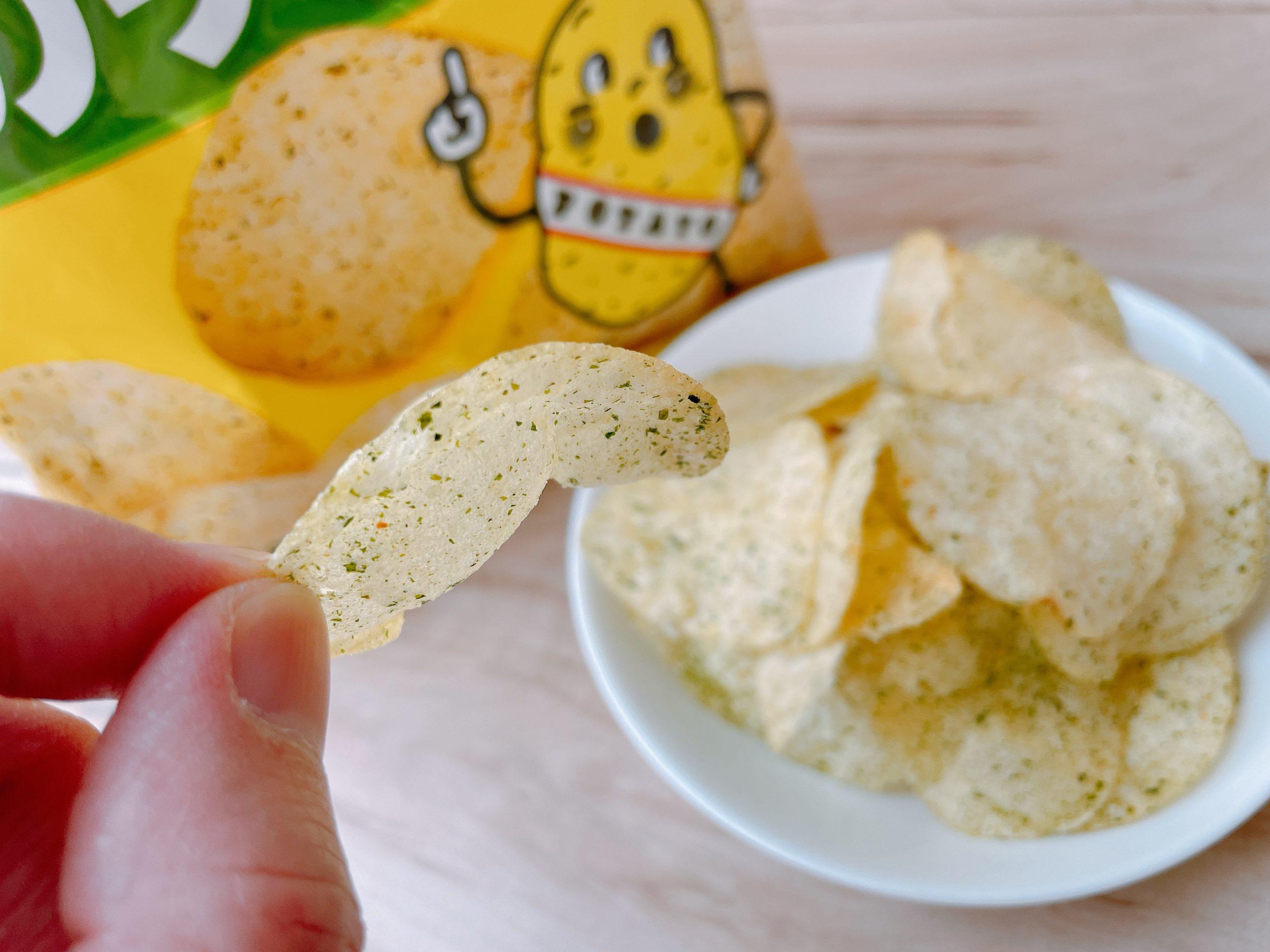 ポテトチップスのりしおは、塩がバッチリきまっている