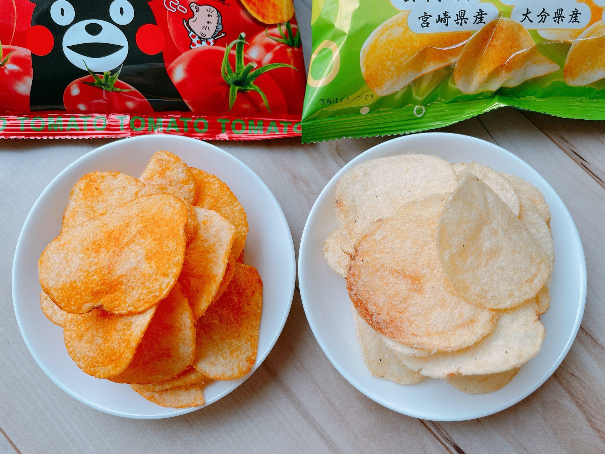 九州すっぱムーチョ<九州柑橘&ビネガー>と九州カラムーチョ<甘辛チリトマト>を同時に食べると、九州カラムーチョの味が、非常にまろやかに